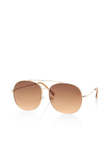 Oversized Aviator Sunglasses,BROWN,large