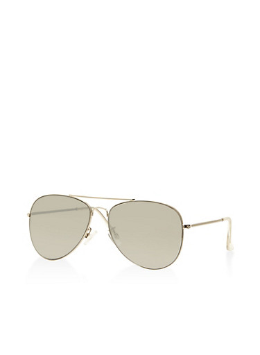 Mirrored Aviator Sunglasses,SILVER,large
