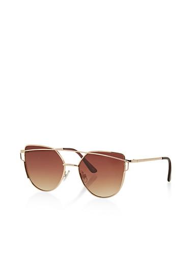 Metallic Top Bar Cat Eye Sunglasses,BROWN,large