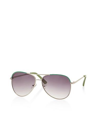 Metallic Frame Aviator Sunglasses   Tuggl