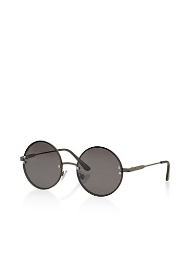 Round Rimless Sunglasses,BLACK,large