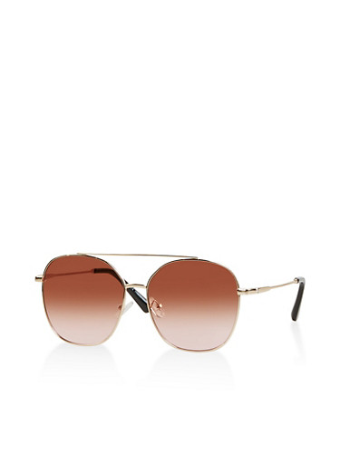 Colored Lens Aviator Sunglasses,BROWN,large