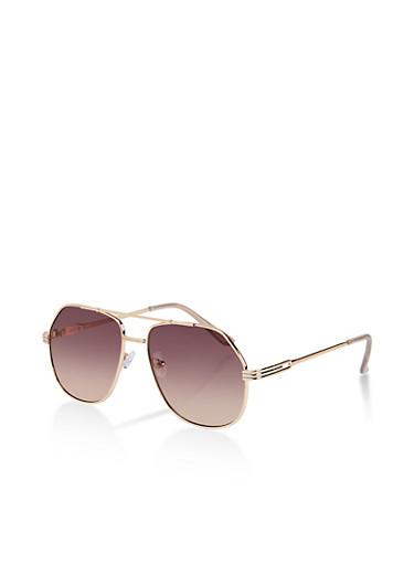Gradient Geometric Aviator Sunglasses,GRAY,large
