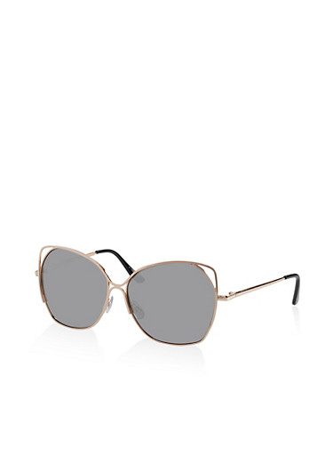 Metallic Cut Out Corner Sunglasses,GRAY,large