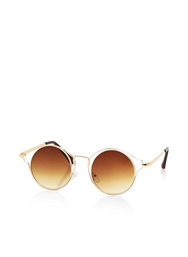 Wire Rim Circular Sunglasses,BROWN,large