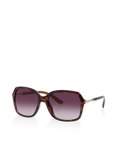 Square Rhinestone Detail Sunglasses,BLACK,large
