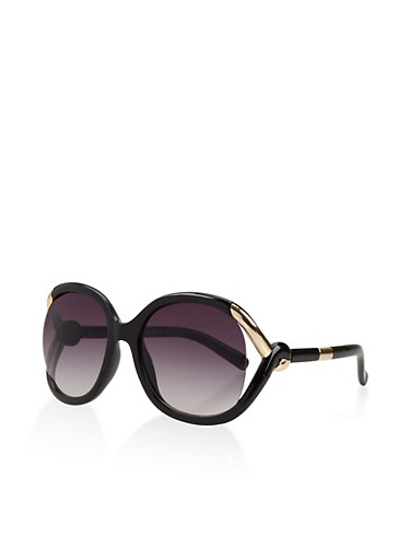 Open Side Sunglasses,BLACK,large