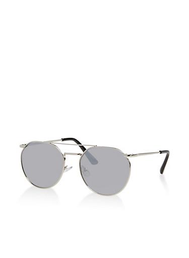 Geometric Aviator Mirrored Sunglasses,GRAY,large