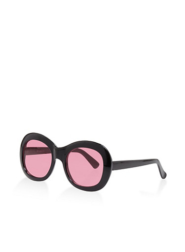 Oval Plastic Sunglasses,BLACK,large