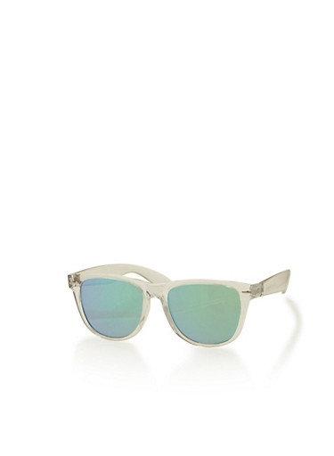 Clear Frame Colored Lens Sunglasses,GREEN,large
