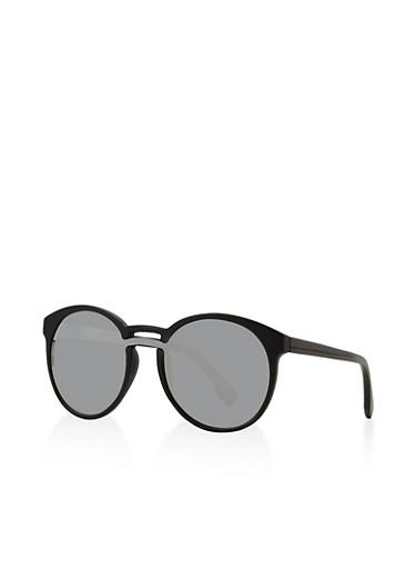 Mirrored Round Sunglasses,BLACK,large