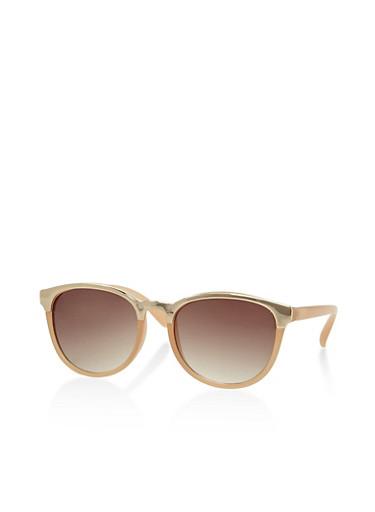 Metallic Trim Plastic Sunglasses,BROWN,large