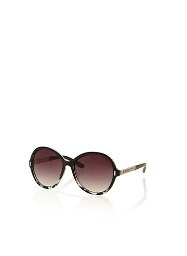 Round Chain Link Sunglasses,BLACK,large