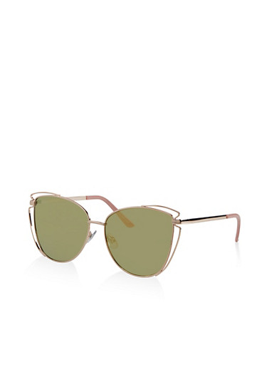 Metallic Cut Out Mirrored Sunglasses,ROSE,large