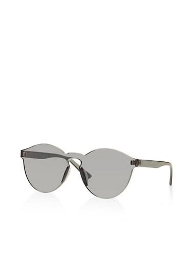 Circular Rimless Shield Sunglasses,GRAY,large