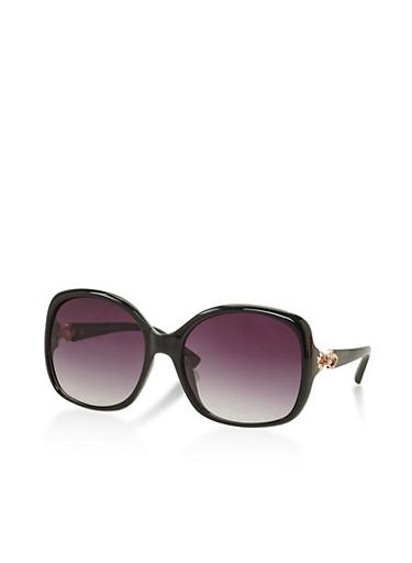 Bow Detail Sunglasses,BLACK,large