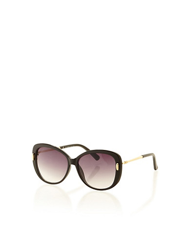 Metallic Detail Plastic Sunglasses,BLACK,large