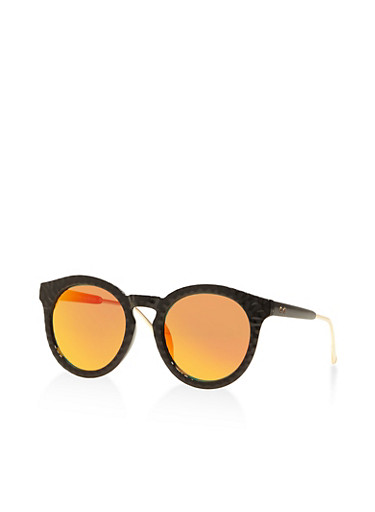 Mirrored Round Sunglasses,RED,large