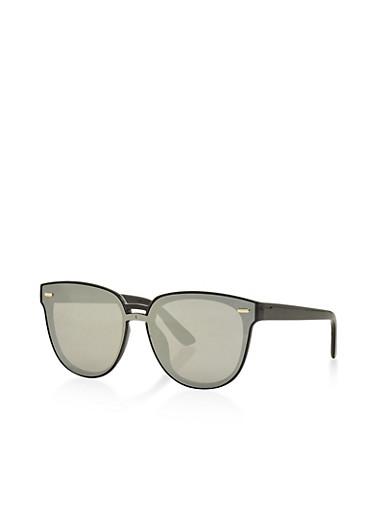 Flat Mirrored Sunglasses,BLACK,large