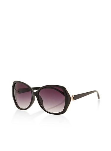 Square Rhinestone Accent Sunglasses,BLACK,large