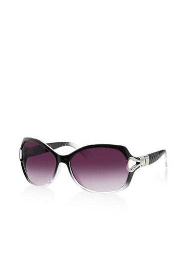 Two Tone Metallic Cut Out Sunglasses,BLACK,large