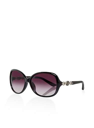 Metallic Flower Detail Oval Sunglasses,BLACK,large