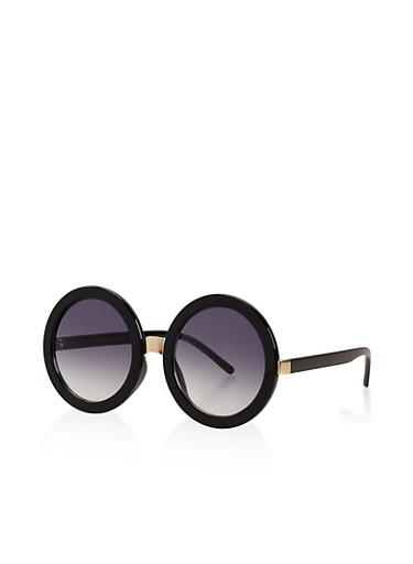 Round Metallic Bridge Sunglasses,BLACK,large