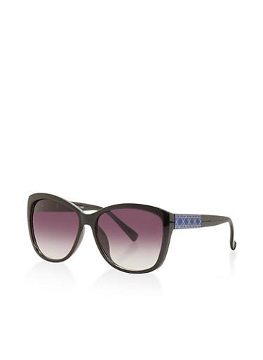 Printed Detail Plastic Sunglasses,BLACK,large
