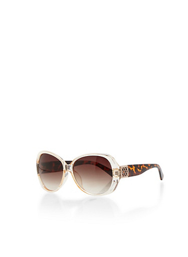 Plastic Frame Sunglasses with Lasercut Side Detail,CLEAR/TORT,large