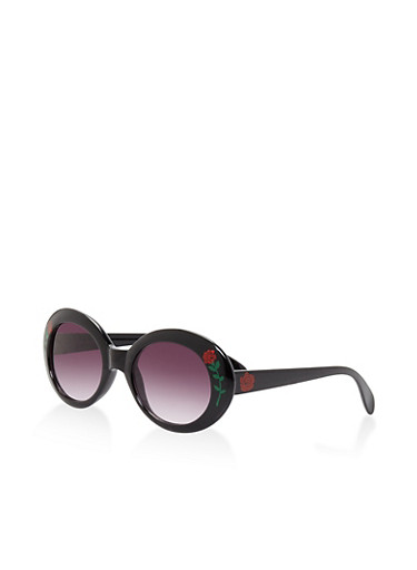 Floral Detail Oval Sunglasses | Tuggl