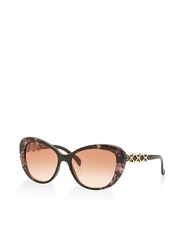 Floral Plastic Cat Eye Sunglasses,PINK,large
