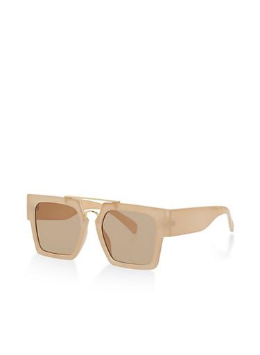 Plastic Square Sunglasses,BROWN,large