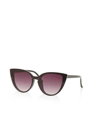 Rimless Plastic Cat Eye Sunglasses,BLACK,large
