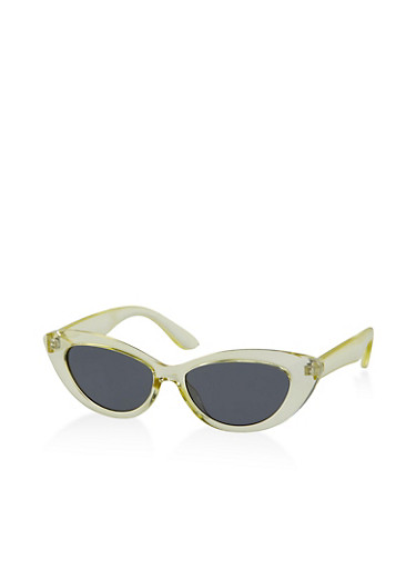 Colored Plastic Frame Cat Eye Sunglasses,LIME,large