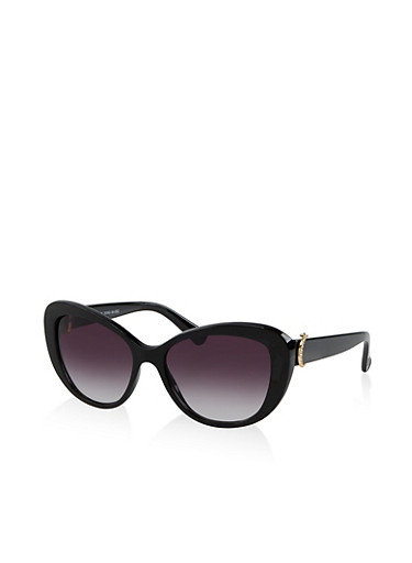 Horseshoe Detail Cat Eye Sunglasses,BLACK,large