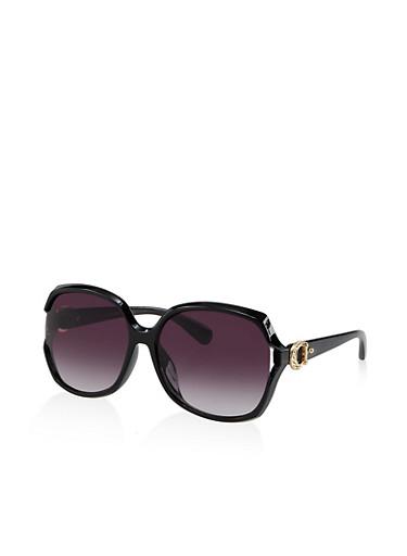 Horseshoe Detail Sunglasses,BLACK,large