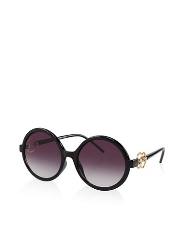 Double Ring Detail Round Sunglasses,BLACK,large