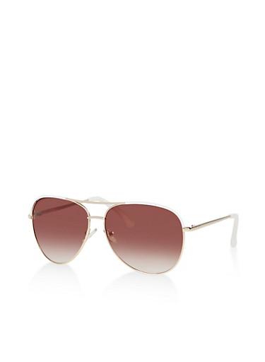 Enameled Detail Aviator Sunglasses,WHITE,large