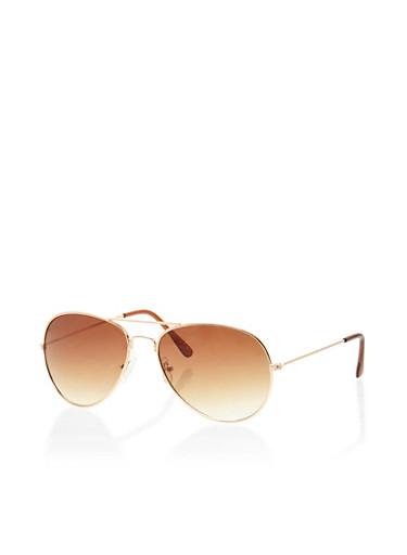 Metal Aviator Sunglasses,GOLD,large