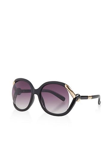 Metallic Twist Detail Sunglasses,BROWN,large