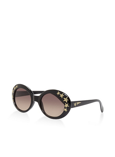 Star Detail Oval Sunglasses | Tuggl
