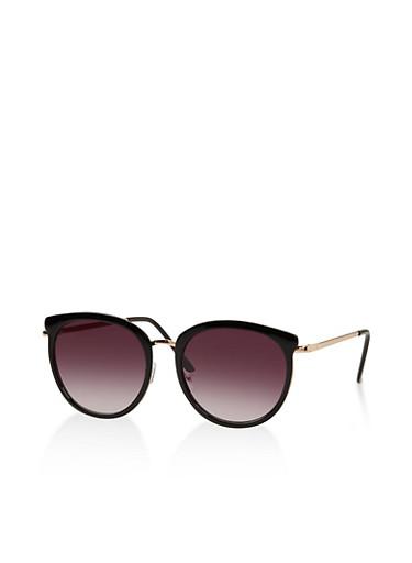 Round Metallic Nose Sunglasses,BLACK,large