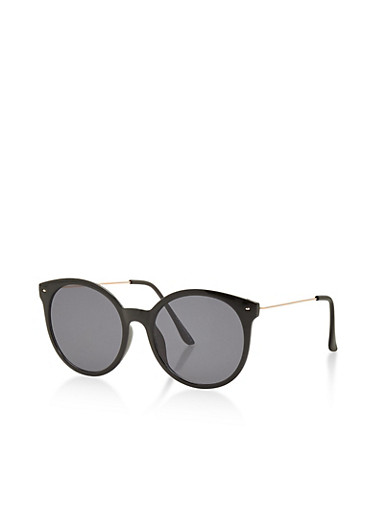 Round Mirrored Lens Sunglasses,BLACK,large
