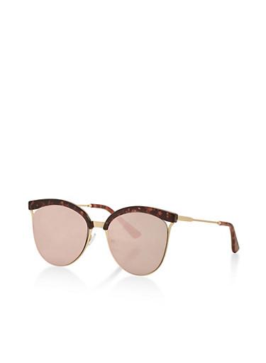 Flat Mirrored Cat Eye Sunglasses,PINK,large