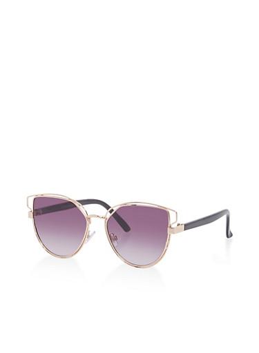 Double Metallic Frame Cat Eye Sunglasses,BLACK,large