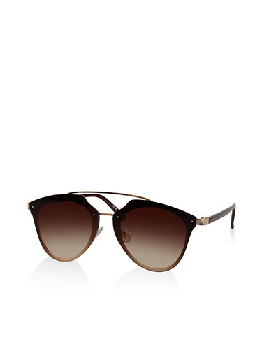 Top Bar Flat Aviator Sunglasses,BROWN,large