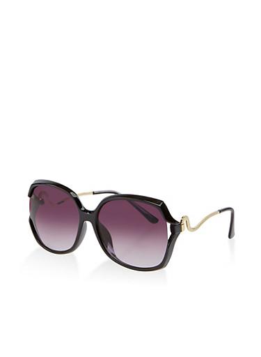 Wavy Metallic Arm Sunglasses,BLACK,large