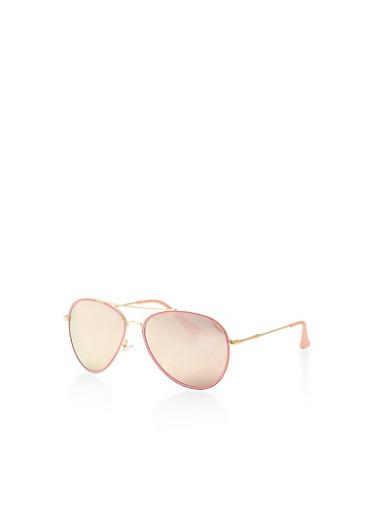 Mirrored Contrast Trim Aviator Sunglasses,PINK,large