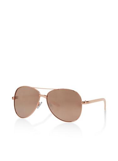 Mirror Lens Top Bar Aviator Sunglasses,PINK,large