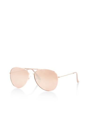 Metallic Top Bar Aviator Sunglasses,PINK,large